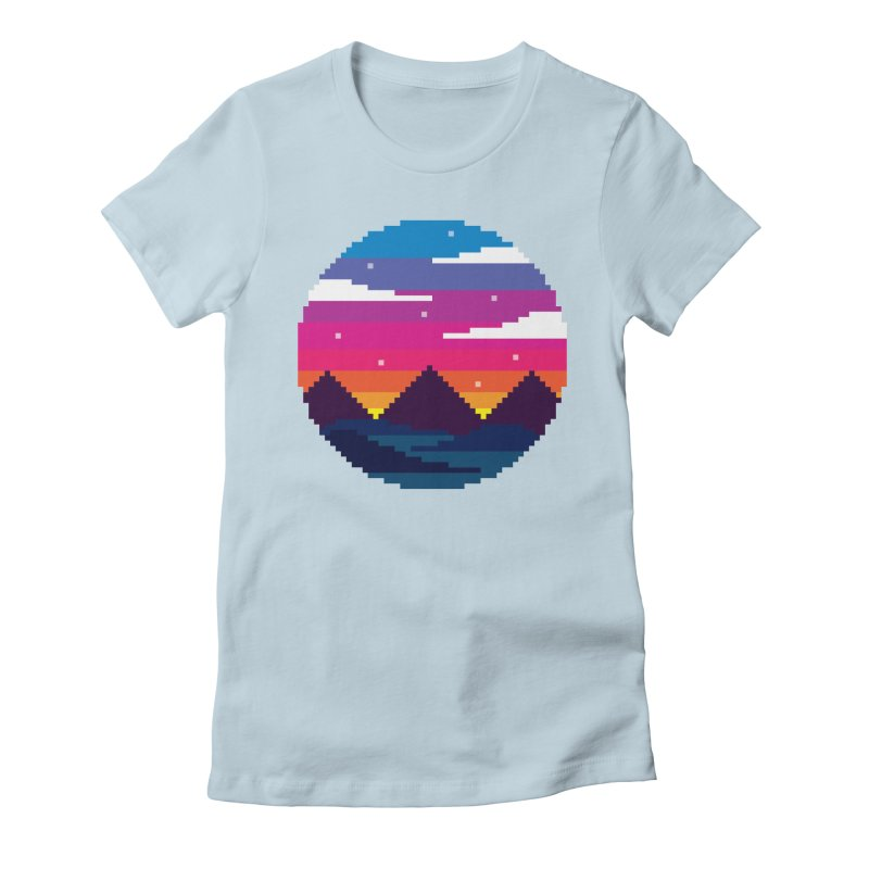 Pixel Sunset Women's Fitted T-Shirt by Mouki K. Butt: Artist Shop