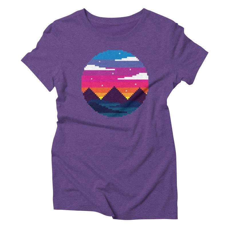 Pixel Sunset Women's Triblend T-Shirt by Mouki K. Butt: Artist Shop