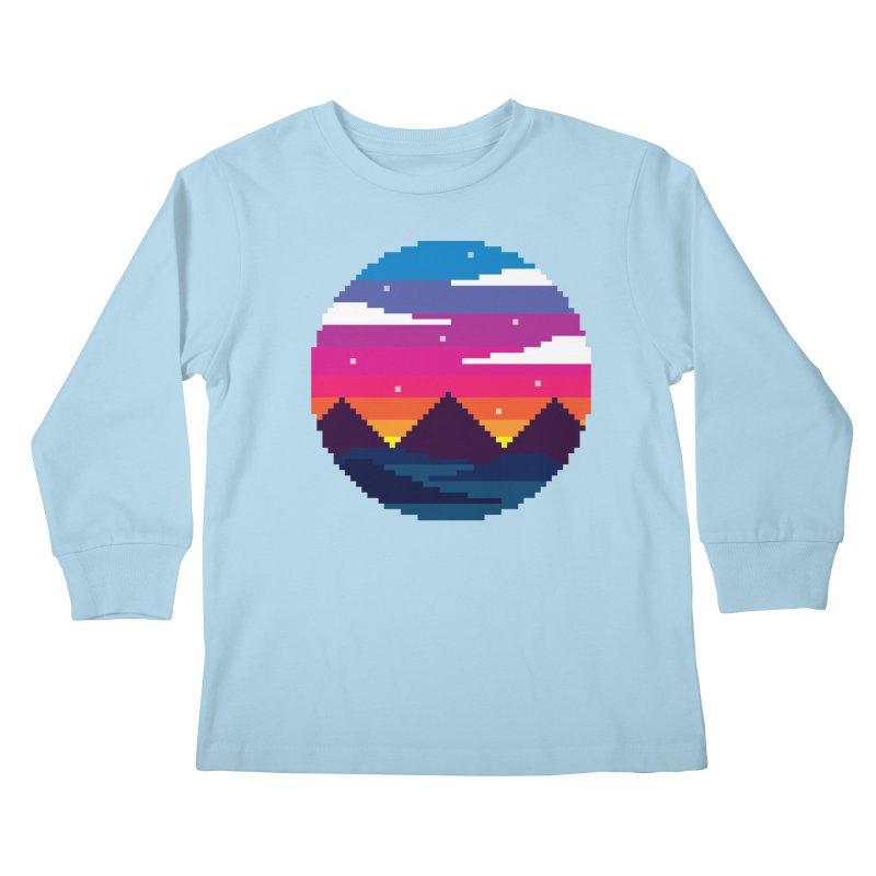 Pixel Sunset Kids Longsleeve T-Shirt by Mouki K. Butt: Artist Shop