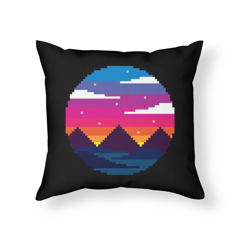 Pixel Sunset Home Throw Pillow by Mouki K. Butt: Artist Shop