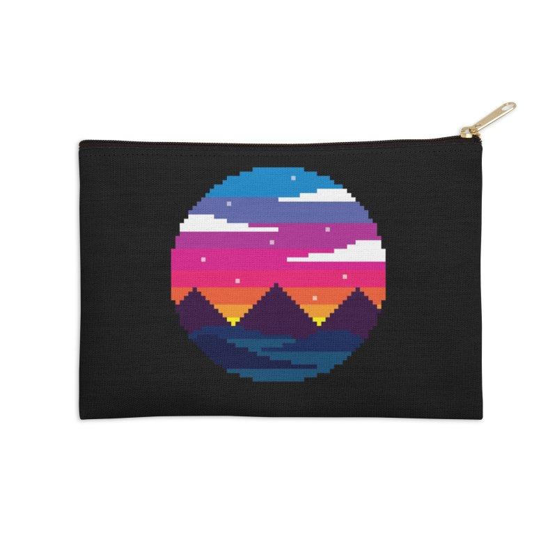 Pixel Sunset Accessories Zip Pouch by Mouki K. Butt: Artist Shop
