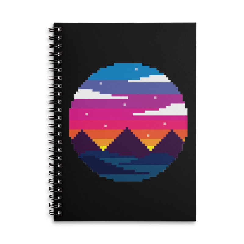 Pixel Sunset Accessories Lined Spiral Notebook by Mouki K. Butt: Artist Shop