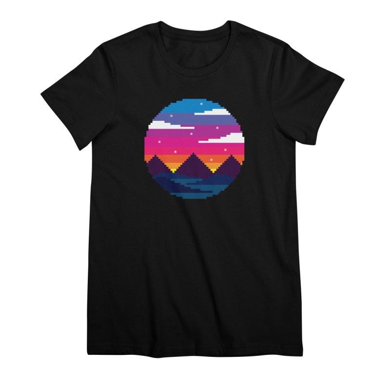 Pixel Sunset Women's Premium T-Shirt by Mouki K. Butt: Artist Shop