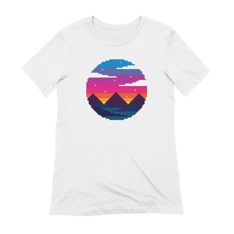 Pixel Sunset Women's Extra Soft T-Shirt by Mouki K. Butt: Artist Shop