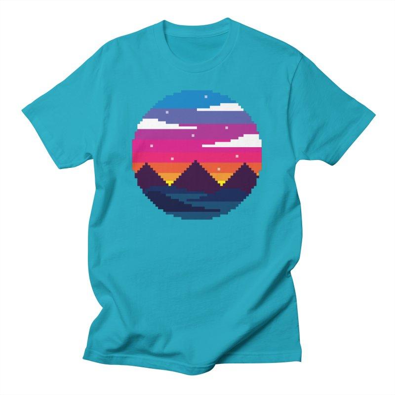 Pixel Sunset Men's T-Shirt by Mouki K. Butt: Artist Shop