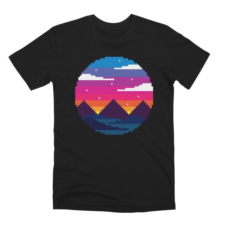 Pixel Sunset Men's Premium T-Shirt by Mouki K. Butt: Artist Shop