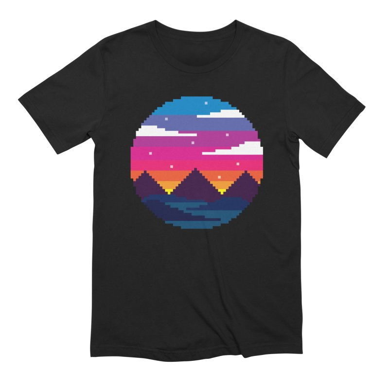 Pixel Sunset Men's Extra Soft T-Shirt by Mouki K. Butt: Artist Shop