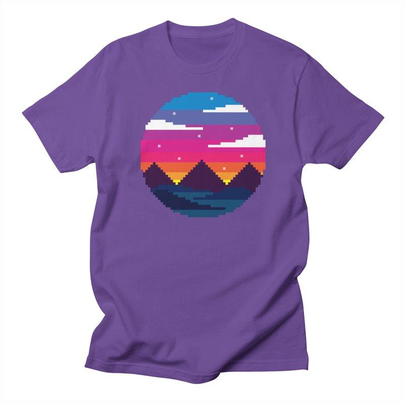 Pixel Sunset Women's Regular Unisex T-Shirt by Mouki K. Butt: Artist Shop