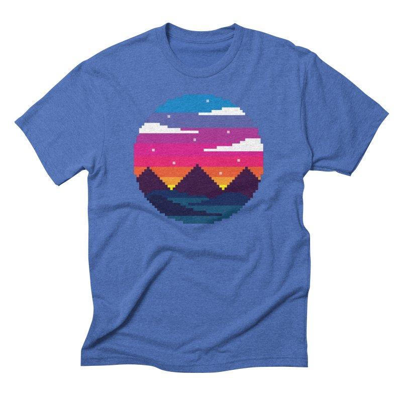 Pixel Sunset Men's Triblend T-Shirt by Mouki K. Butt: Artist Shop