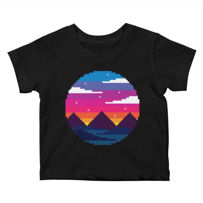 Pixel Sunset Kids Baby T-Shirt by Mouki K. Butt: Artist Shop