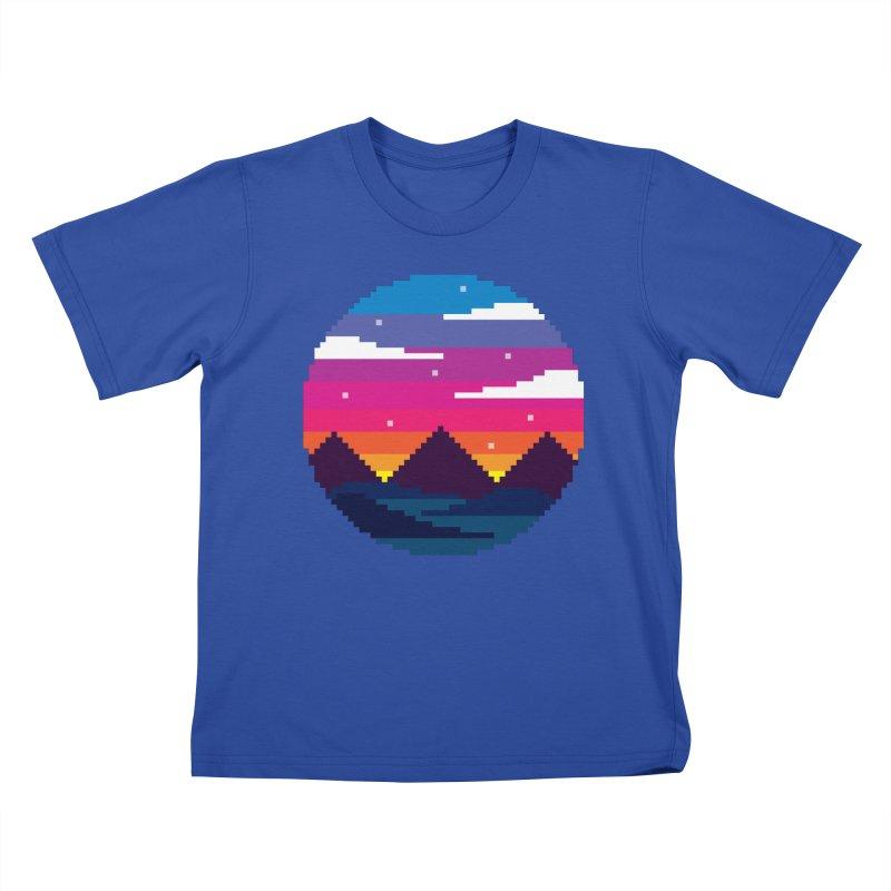 Pixel Sunset Kids T-Shirt by Mouki K. Butt: Artist Shop