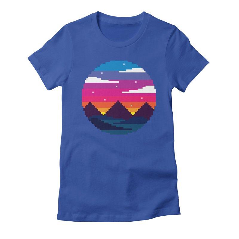 Pixel Sunset Women's Fitted T-Shirt by Mouki K. Butt: Artist Shop