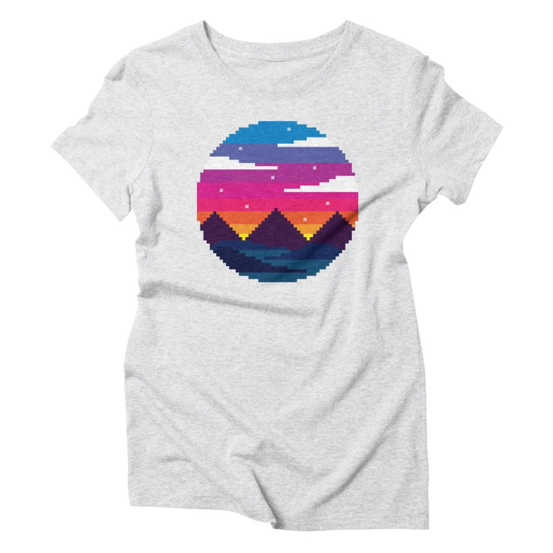 Pixel Sunset Women's Triblend T-Shirt by Mouki K. Butt: Artist Shop