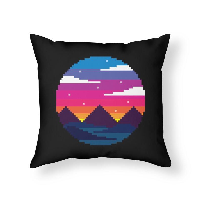 Pixel Sunset Home Throw Pillow by Mouki K. Butt: Artist Shop