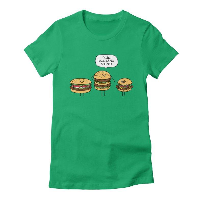 Burger Bullies Women's Fitted T-Shirt by Mouki K. Butt: Artist Shop