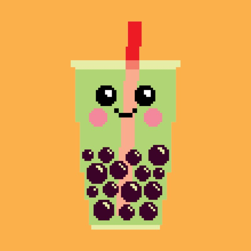 Happy Pixel Bubble Tea by Mouki K. Butt: Artist Shop