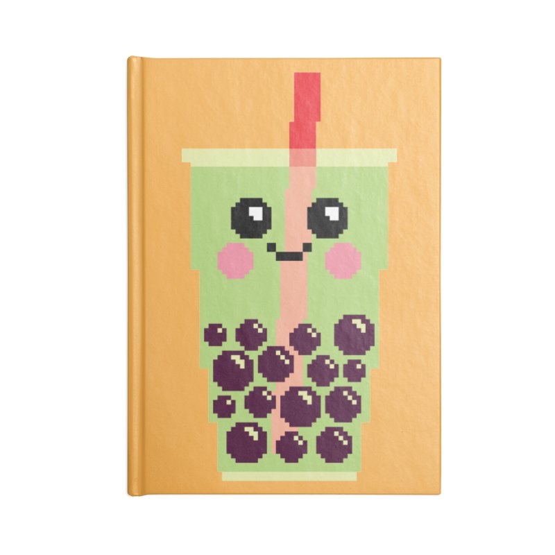 Happy Pixel Bubble Tea Accessories Lined Journal Notebook by Mouki K. Butt: Artist Shop