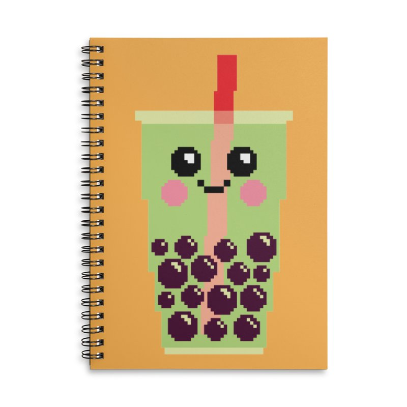 Happy Pixel Bubble Tea Accessories Lined Spiral Notebook by Mouki K. Butt: Artist Shop