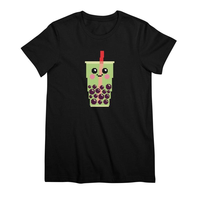Happy Pixel Bubble Tea Women's Premium T-Shirt by Mouki K. Butt: Artist Shop