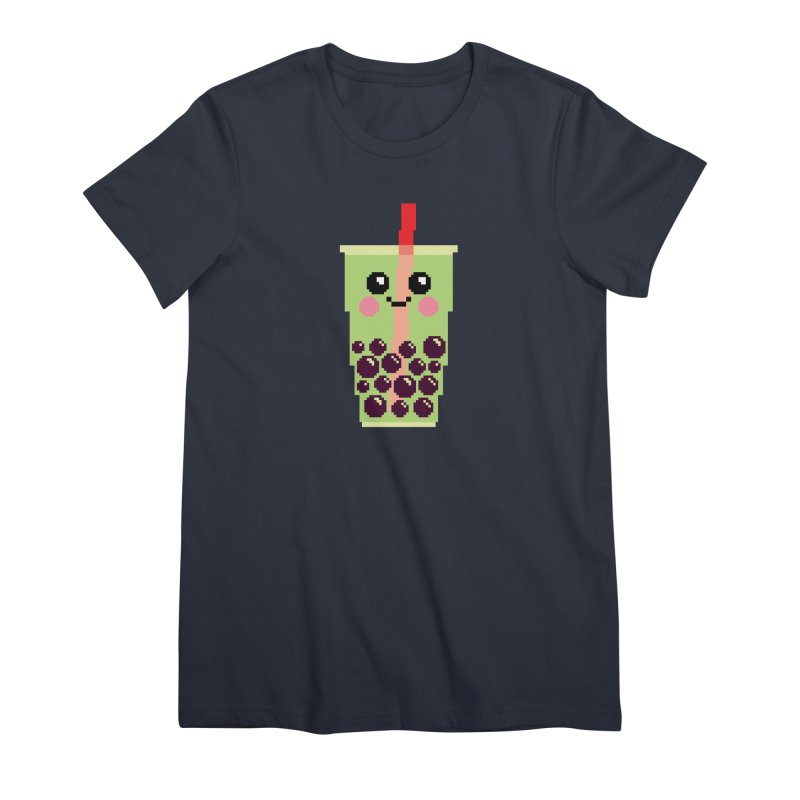 Happy Pixel Bubble Tea Women's Premium T-Shirt by Mouki K. Butt: Artist Shop