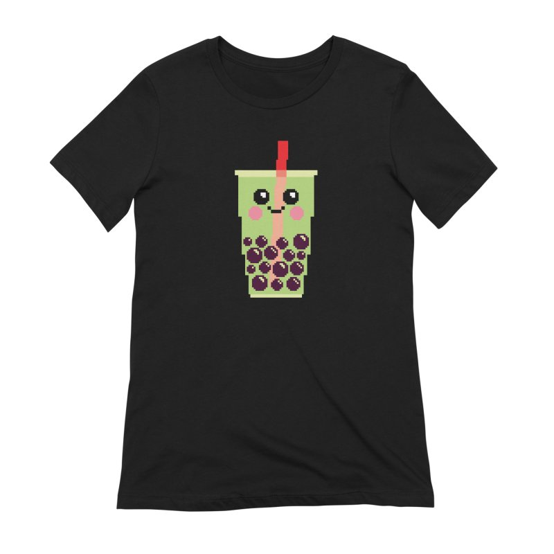 Happy Pixel Bubble Tea Women's Extra Soft T-Shirt by Mouki K. Butt: Artist Shop