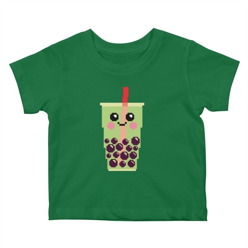 Happy Pixel Bubble Tea Kids Baby T-Shirt by Mouki K. Butt: Artist Shop