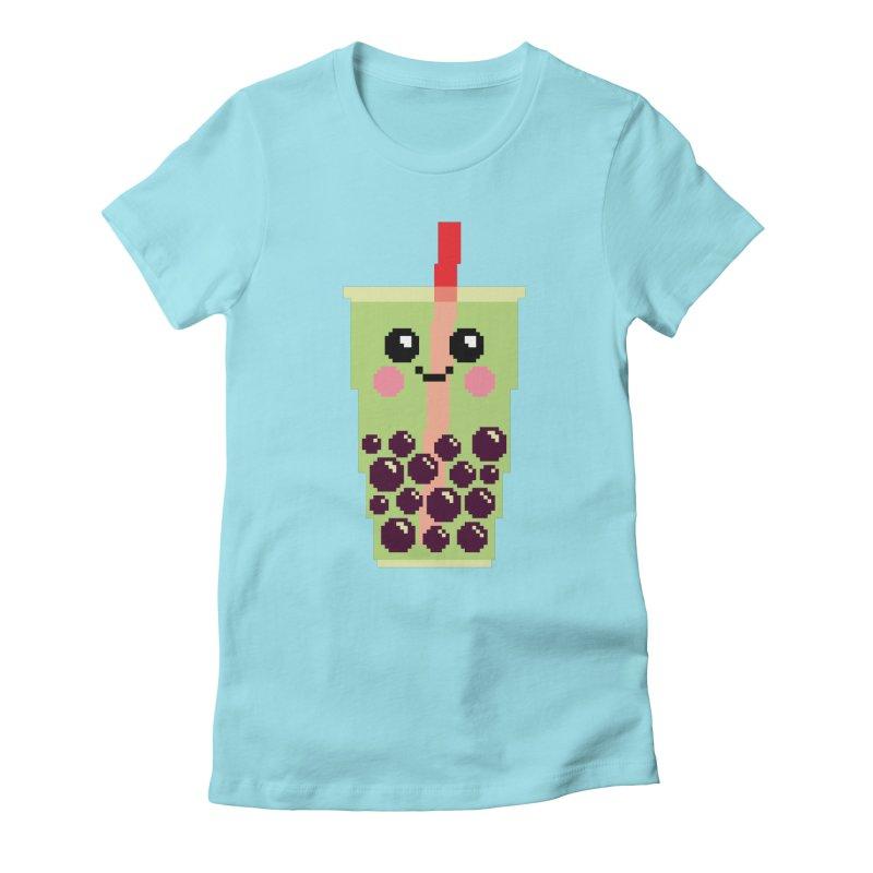 Happy Pixel Bubble Tea Women's Fitted T-Shirt by Mouki K. Butt: Artist Shop