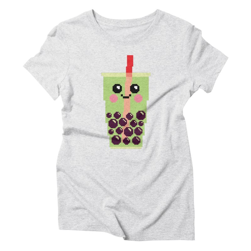 Happy Pixel Bubble Tea Women's Triblend T-Shirt by Mouki K. Butt: Artist Shop
