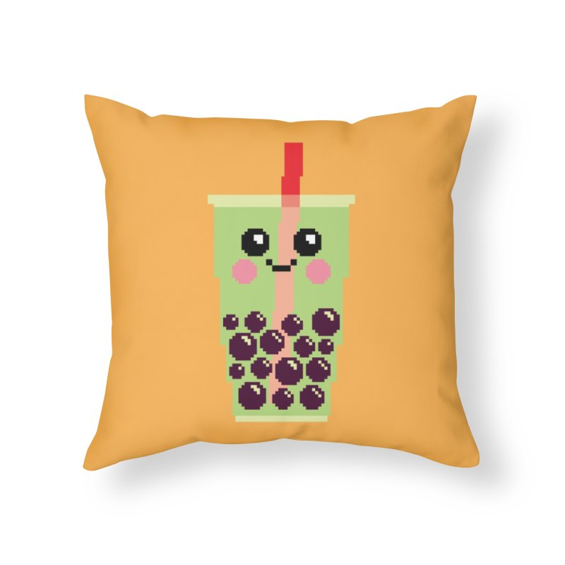 Happy Pixel Bubble Tea Home Throw Pillow by Mouki K. Butt: Artist Shop