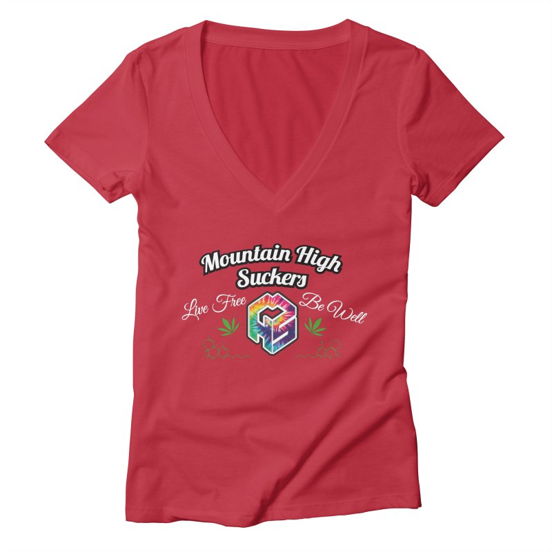 MHS Official Merch (dark) Women's Deep V-Neck V-Neck by Mountain High Suckers Merch