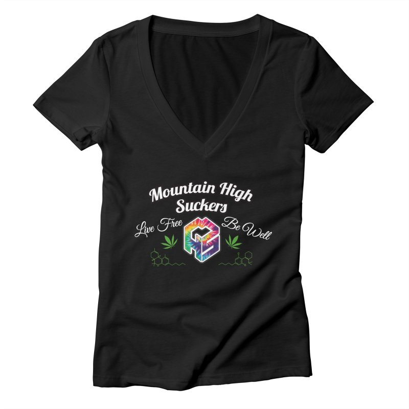 MHS Official Merch (dark) Women's Deep V-Neck V-Neck by Mountain High Suckers Merch