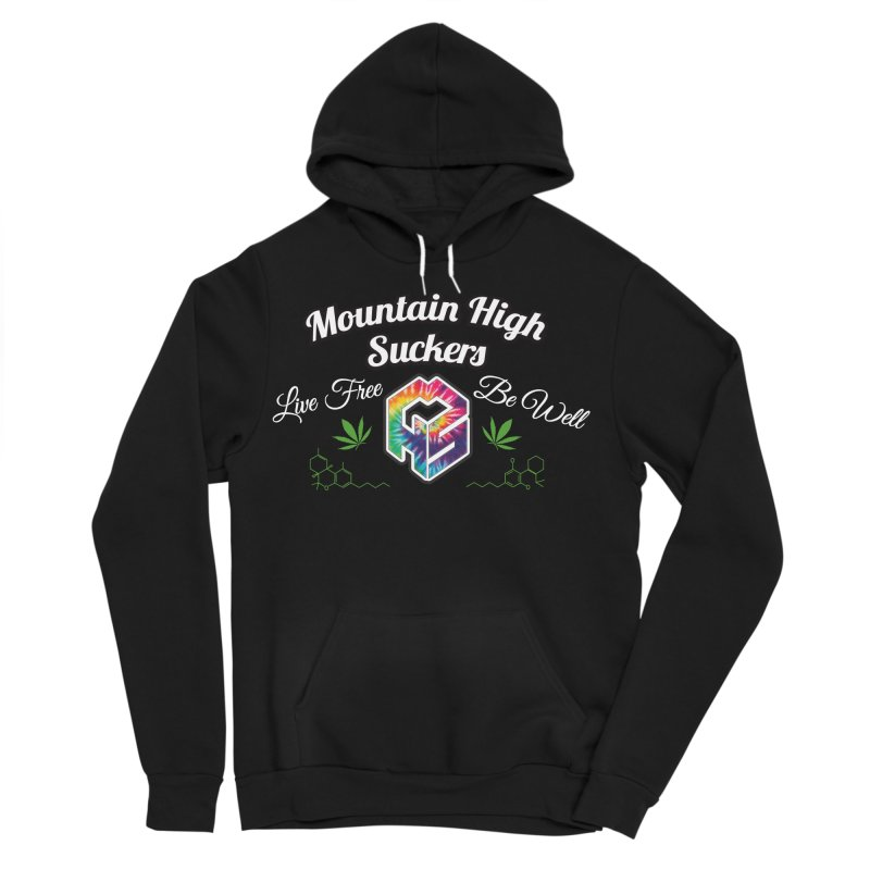 MHS Official Merch (dark) in Men's Sponge Fleece Pullover Hoody Black by Mountain High Suckers Merch