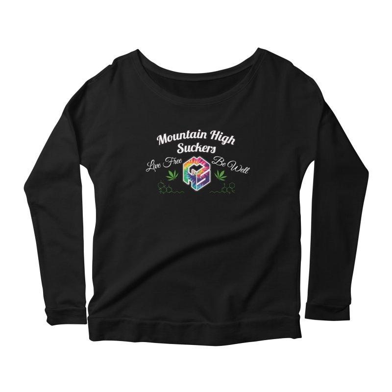 MHS Official Merch (dark) Women's Scoop Neck Longsleeve T-Shirt by Mountain High Suckers Merch