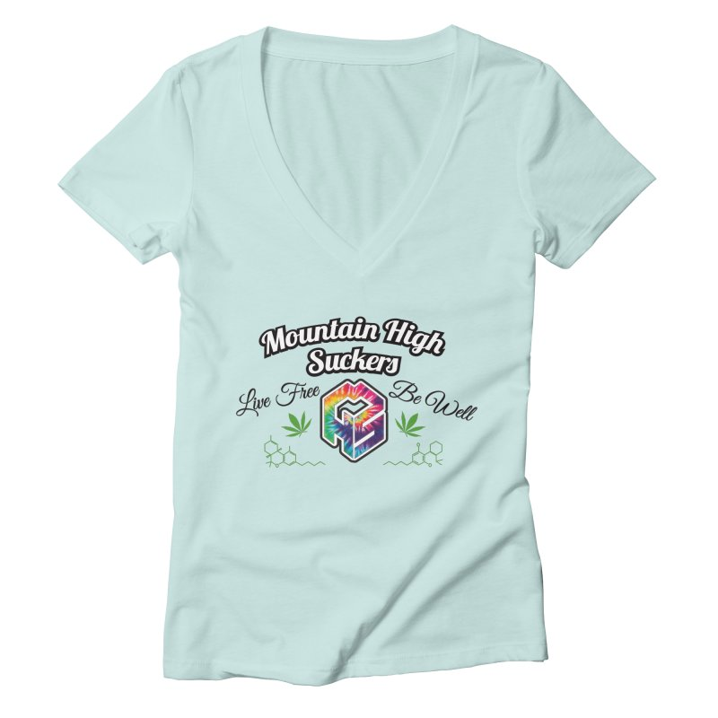MHS Official Merch (light) Women's Deep V-Neck V-Neck by Mountain High Suckers Merch