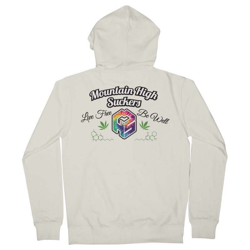 MHS Official Merch (light) in Men's French Terry Zip-Up Hoody Heather Oatmeal by Mountain High Suckers Merch