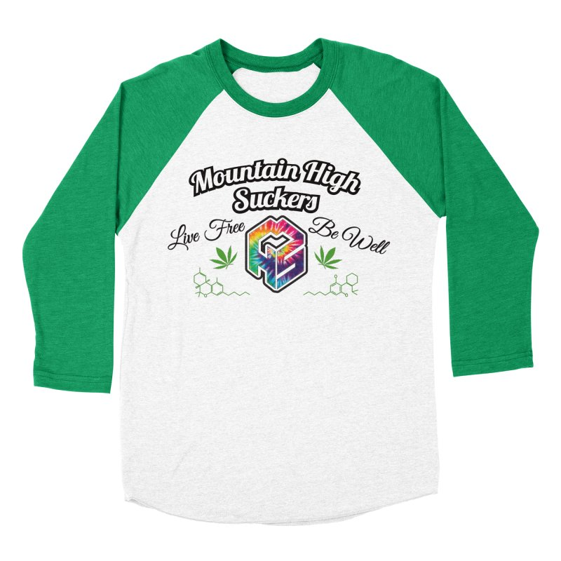MHS Official Merch (light) in Men's Baseball Triblend Longsleeve T-Shirt Tri-Kelly Sleeves by Mountain High Suckers Merch