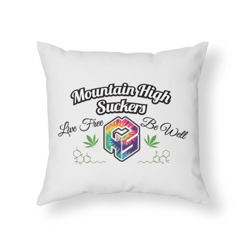 MHS Official Merch (light) Home Throw Pillow by Mountain High Suckers Merch