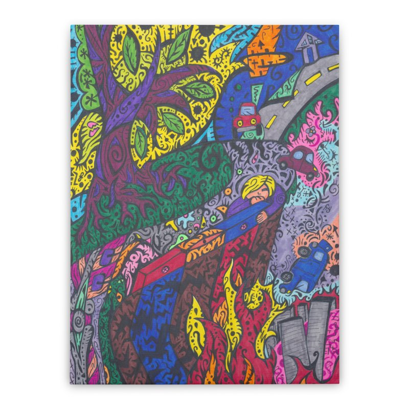5 of Leaves of the Patella Tarot: Societal Chaos Home, Décor & Cozy Stretched Canvas by Paint AF's Artist Shop