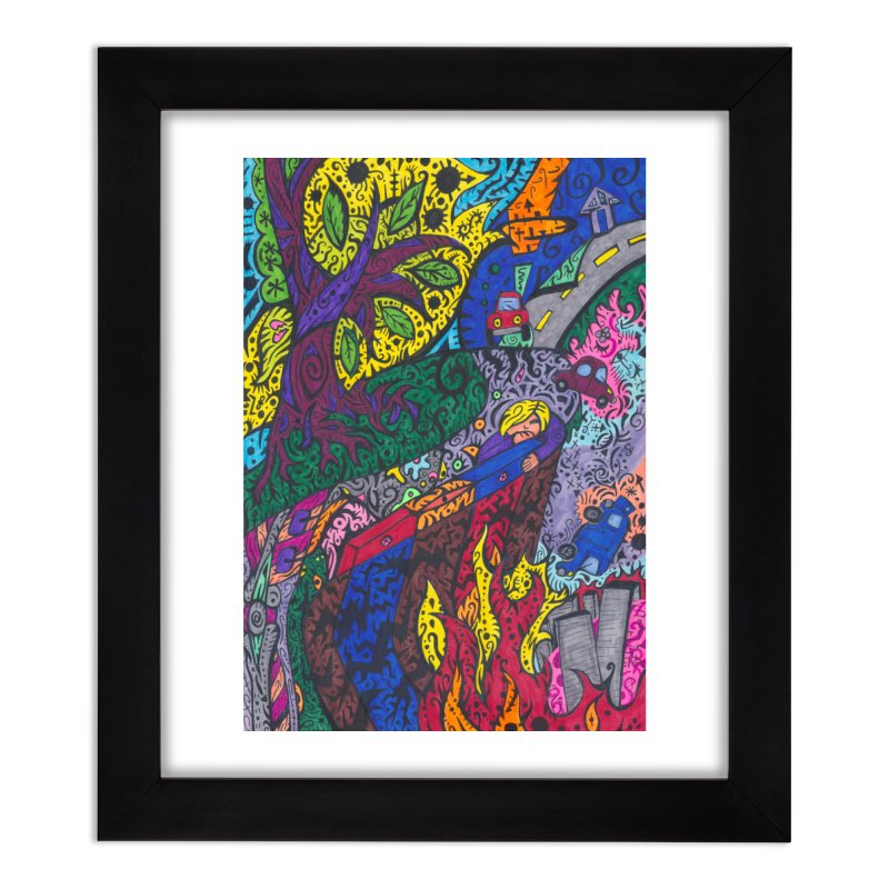 5 of Leaves of the Patella Tarot: Societal Chaos Home, Décor & Cozy Framed Fine Art Print by Paint AF's Artist Shop