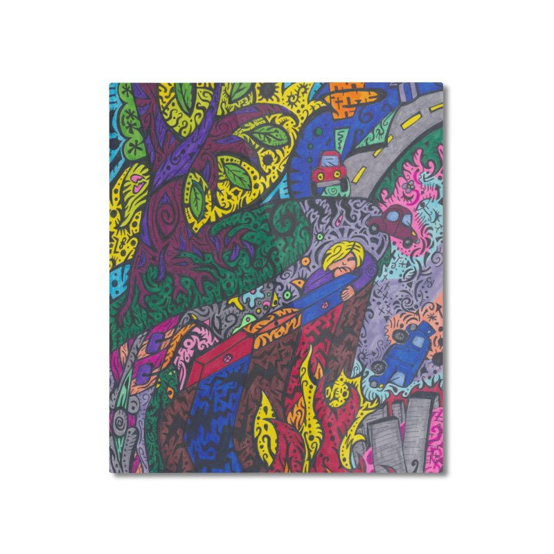 5 of Leaves of the Patella Tarot: Societal Chaos Home, Décor & Cozy Mounted Aluminum Print by Paint AF's Artist Shop