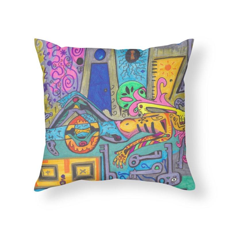 8 of Keys of the Patella Tarot: False Limitations Home, Décor & Cozy Throw Pillow by Paint AF's Artist Shop