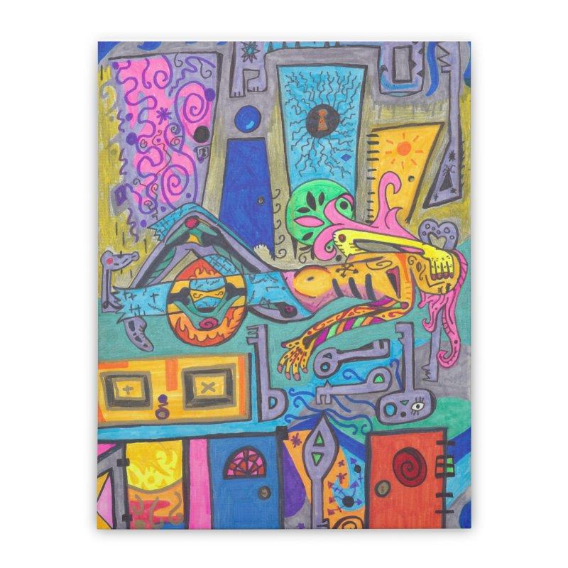 8 of Keys of the Patella Tarot: False Limitations Home, Décor & Cozy Stretched Canvas by Paint AF's Artist Shop