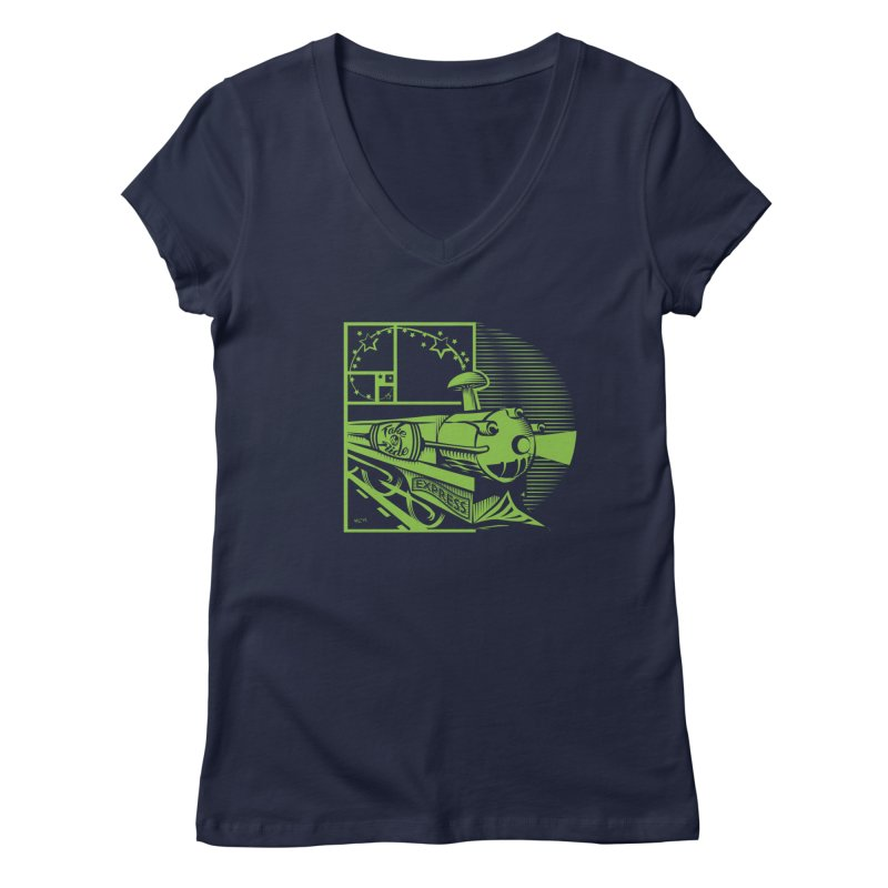 Green Express Women's V-Neck by moxie's Artist Shop