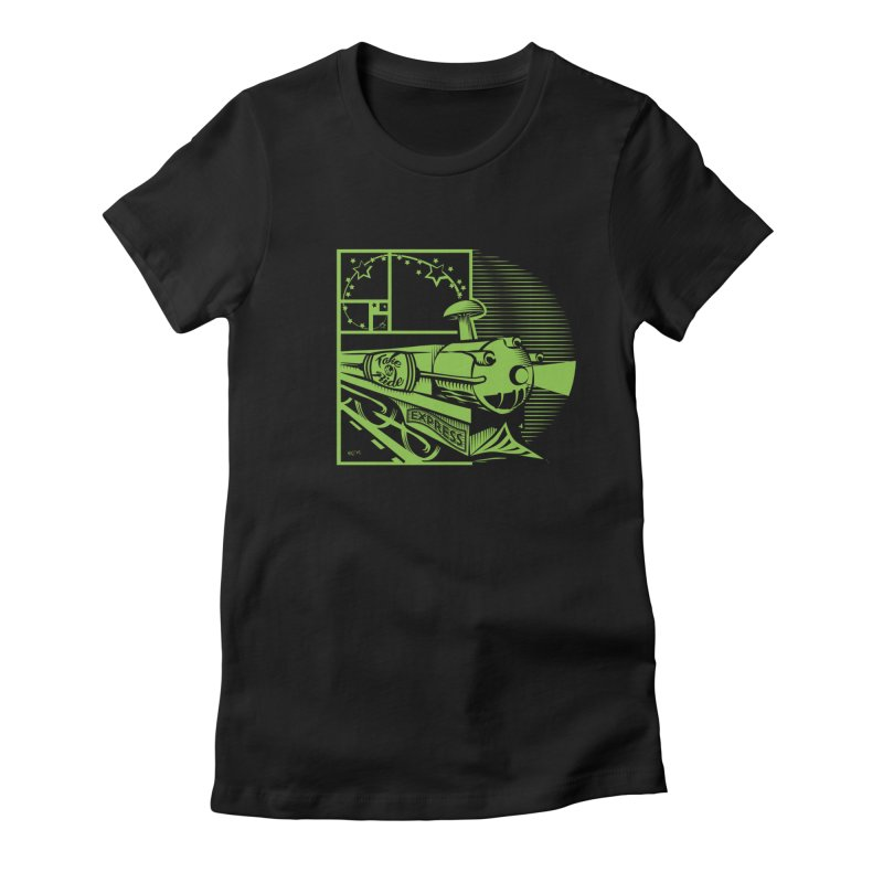 Green Express Women's Fitted T-Shirt by moxie's Artist Shop