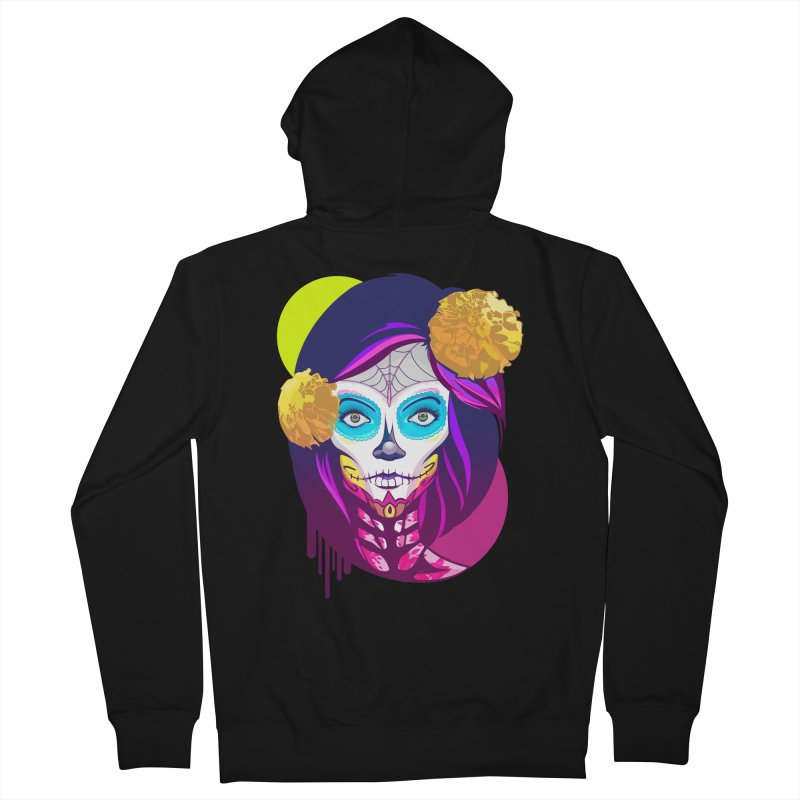 Lady Catrina: Day of Dead Women's French Terry Zip-Up Hoody by moyart's Artist Shop