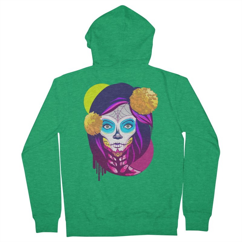Lady Catrina: Day of Dead Men's French Terry Zip-Up Hoody by moyart's Artist Shop