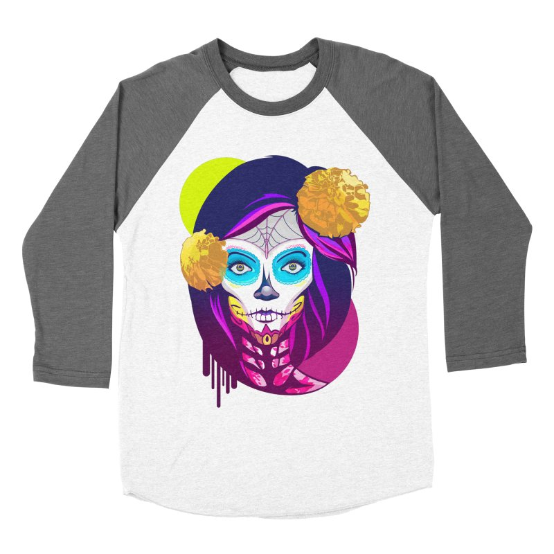Lady Catrina: Day of Dead Men's Baseball Triblend Longsleeve T-Shirt by moyart's Artist Shop