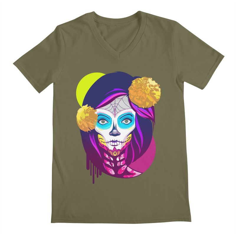 Lady Catrina: Day of Dead Men's Regular V-Neck by moyart's Artist Shop