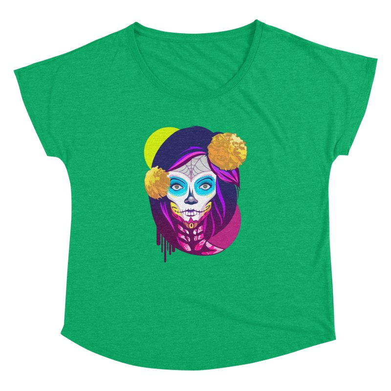 Lady Catrina: Day of Dead Women's Dolman Scoop Neck by moyart's Artist Shop