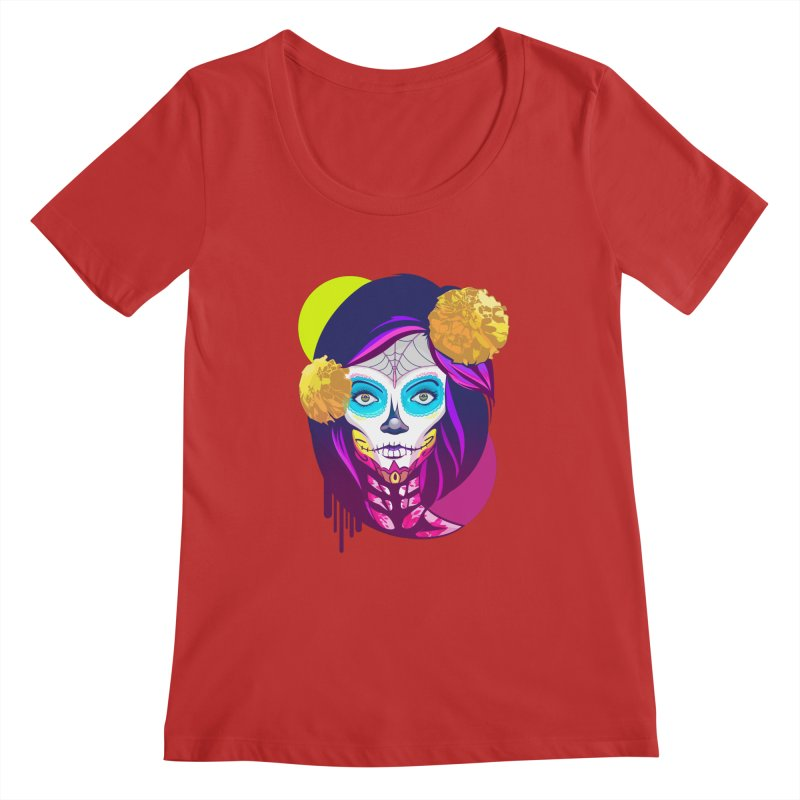 Lady Catrina: Day of Dead Women's Regular Scoop Neck by moyart's Artist Shop
